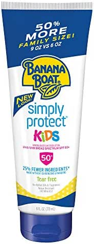 Banana Boat Simply Protect Mineral-Based Sunscreen Lotion for Kids, SPF 50+, Tear Free, 25% Fewer Ingredients, 9 Ounces
