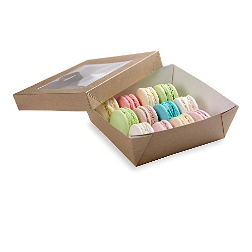 Paper Take Out Container, Paper To Go Box with Window - Medium Sized at 27 oz - Cafe Vision - 200ct Box - Restaurantware by Restaurantware