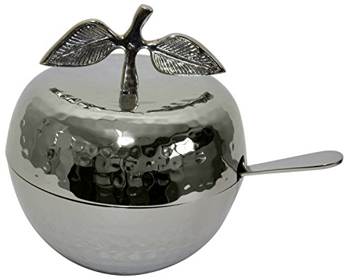 Nickel Plated Hammered Apple Shaped Honey Dish with Glass Insert