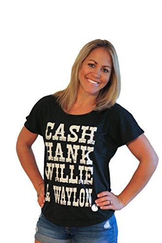 Tough Little Lady Womens Country Shirt Cash Hank Waylon & Willie Blk Dolman,SM -