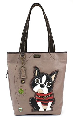Chala Handbag Everyday Tote - Boston Terrier Warm Grey