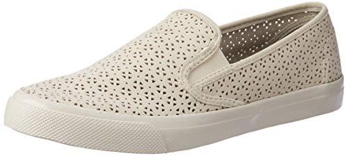 SPERRY Women's Seaside Nautical Perf Sneaker, Ivory, 8 Medium US