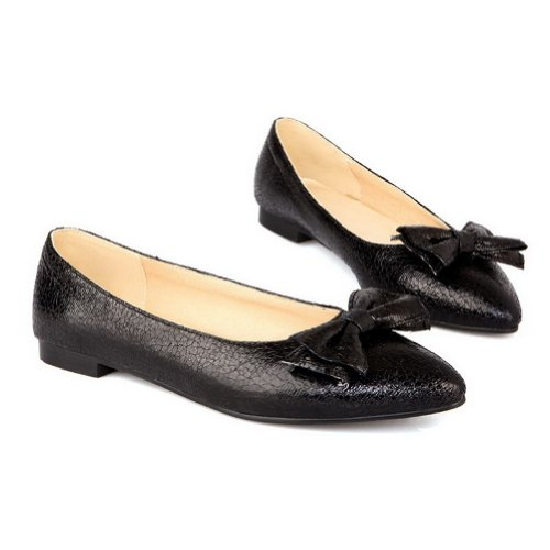 VogueZone009 Womens Solid Pattern Toe Pointed Bowknot Microfiber Black Stone Closed Pumps with F7w4qTxrF