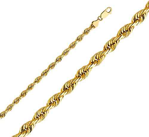 GoldenMine Fine Jewelry Collection 14k Yellow Gold 5mm Solid Rope Diamond Cut Chain Necklace