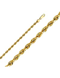 14k Yellow Gold 5mm Solid Rope Diamond Cut Chain Necklace