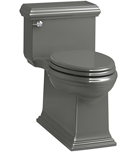 KOHLER K-6424-58 Memoirs Classic Comfort Height Skirted One-Piece Compact Elongated 1.28 GPF Toilet with AquaPiston Flush Technology and Left-Hand Trip Lever, Thunder Grey
