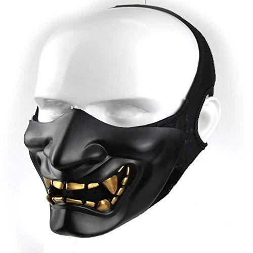 Supspy Samurai Airsoft Mask Tactical Prajna Half Face Ninja Hannya Oni Motorcycle Evil Demon Knight Kabuki Mask for Halloween Cosplay Costume Hunting Shooting (Black)
