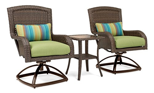La-Z-Boy Outdoor Sawyer 3 Piece Patio Furniture Bistro bundle (2 swivel rocker patio chairs and 1 side table) (Cilantro (3 Piece Swivel Rocker)
