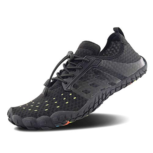 FEIFAN Men Women Water Shoes Quick Dry Adult Beach Swim Barefoot Lightweight Water Shoes Black 02 43