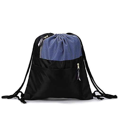 NAVO Gym Drawstring Bag with Shoe Compartment Black