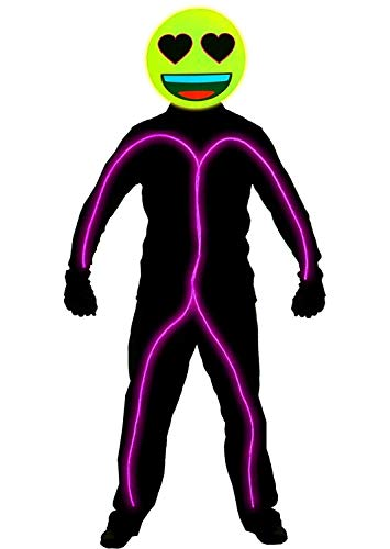 GlowCity Light Up Neon Wire Heart Eyes Emoji Stick Figure Costume for Parties Lighting & Mask Kit - Clothing Not Included - Pink - Medium 5-6 FT Tall ()