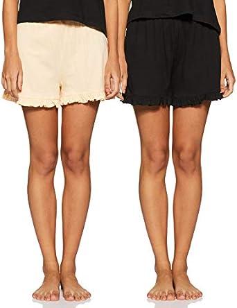 Amazon Brand - Eden & Ivy Women's Shorts Regular Fit Pyjama Bottom (Pack of 2)