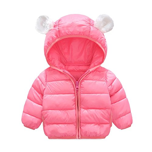 Infant and Toddler Baby Boys Girls Winter Warm Cotton Puffer Cartoon Coats Kids Thicken Jacket Outerwear (6-12Months, Pink)