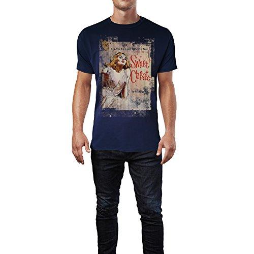 SINUS ART® Swee Cheat Herren T-Shirts stilvolles dunkelblaues Navy Fun Shirt mit tollen Aufdruck