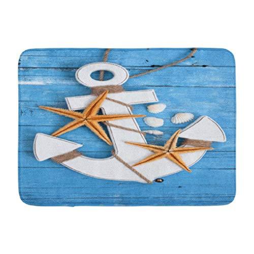 Wood Starfish,Darkchocl Decorative Bath Mat Maritime Decoration Blue Natural Brown Absorbent Non Slip 100% Flannel 17''L x 24''W for Bathroom Toilet Bath Tub Living Room
