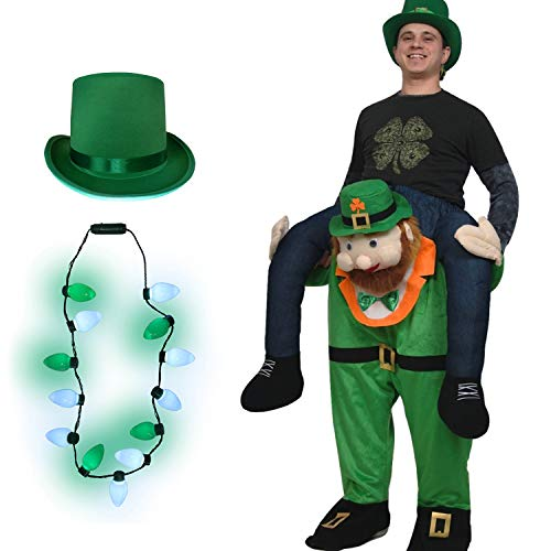 Nicky Bigs Novelties Buddy Leprechaun Costume Light Up Shamrock Necklace Hat Set, Green, One Size -