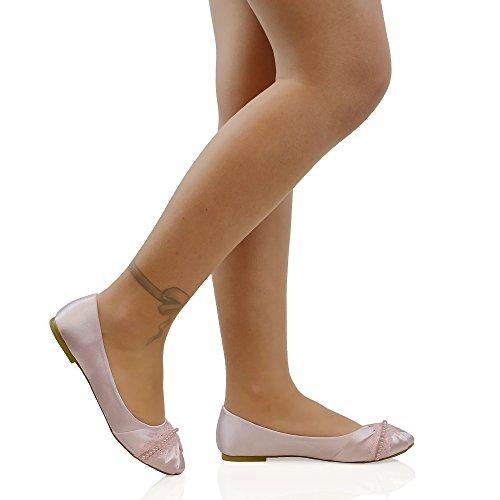 Ballerina Lacci Pastello Satinato Matrimonio Perle Rosa Scarpa GLAM Tacco Senza Donna Satinato ESSEX xqOF6TO
