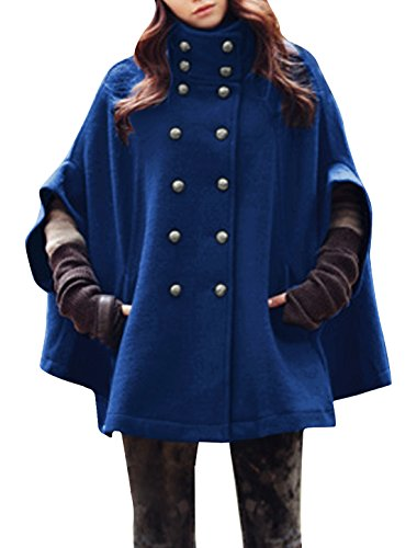 Allegra K Women Dolman Sleeve Stand Collar Double Breasted Poncho Coat XL Blue