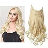 SARLA Beach Blonde Halo Hair Extensions Long Wavy Curly Synthetic Hair Piece for Women Adjustable Size Transparent Wire Headband Heat Friendly Fiber 22 Inch 5.3 Oz No Clip (M01-22&613#)