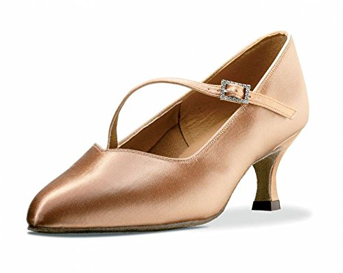 """Ladies All Colours Standard Ballroom Dance Shoes TC SILHOUETTE with Strap 2.5"""" Flare By Topline Katz Flesh Satin"""