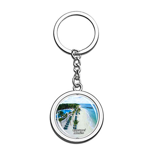 Beach Cozumel Mexico Keychain 3D Crystal Spinning Round Stainless Steel Keychains Travel City Souvenir Key Chain Ring]()