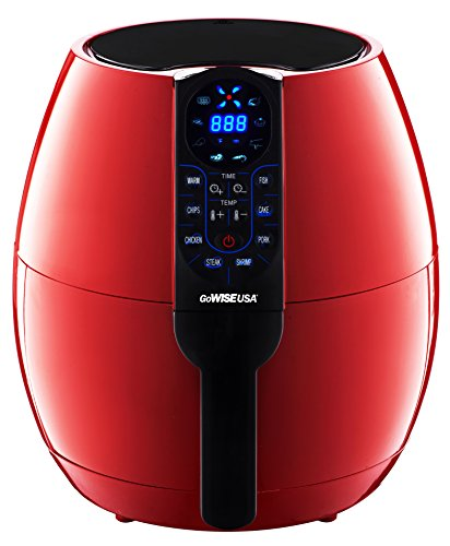 GoWISE USA 3.7-Quarts 8-in-1 Air Fryer 50 Recipes for your Air Fryer Book 3.7-QT Red Air Fryer