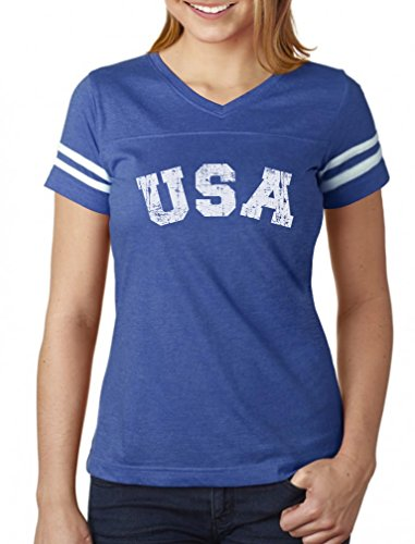 USA 4th of July Shirt for Women Patriotic Retro American Football Jersey Tshirt Medium Blue/White