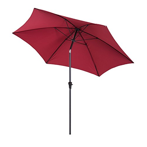 Outsunny 10' Aluminum Outdoor Patio Umbrella with Tilt and Crank (Wine Red/Dark Red) by Outsunny
