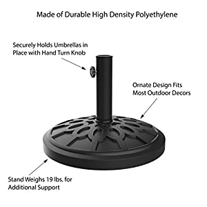 """Pure Garden Umbrella Base Outdoor Patio Umbrella Holder, Heavy Weight Holds Up To 1.9"""" Pole Freestanding, Table, Deck, Balcony, Backyard, Poolside by"""
