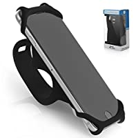 Premium Bike PHONE MOUNT Made of Durable Non-Slip Silicone. Mobile Cellphone Holder / Universal Cradle for Most Smartphones and All Bicycle Handlebars. Secure and Flexible - Silico'