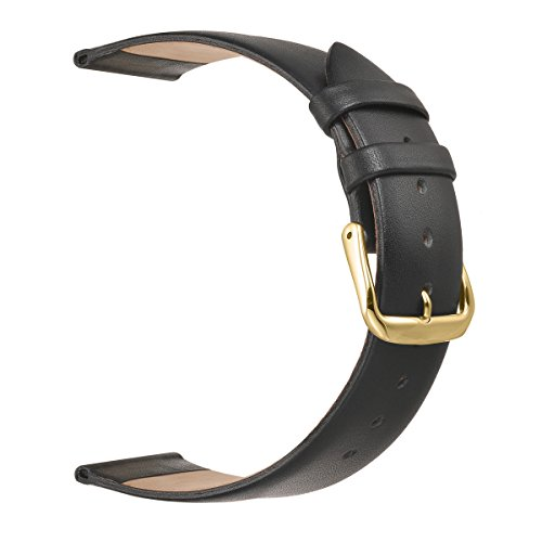 Ultra Thin Leather Watch Bands,EACHE Classical 16mm Watch Replacement Straps in Black with Gold Buckle (Womens 16mm Watch Band)