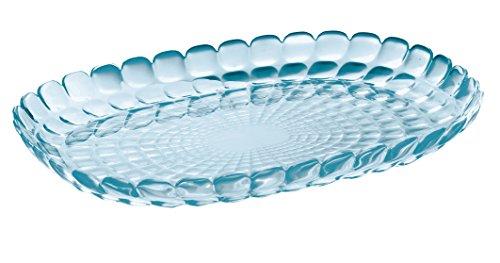 Guzzini Tiffany Collection Medium Serving Tray, 12-1/2-Inches by 8-3/4-Inches by 1-1/4-Inches, Sea Blue Blue Italian Round Platter