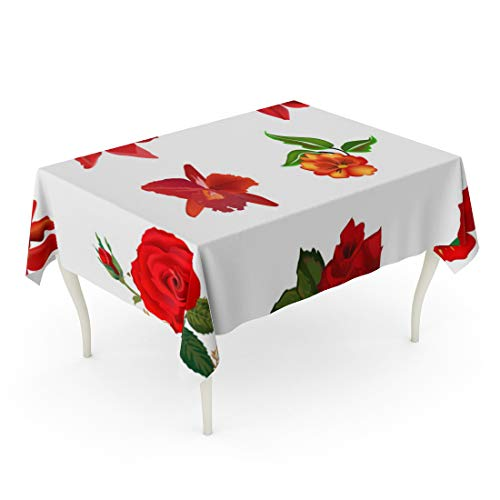 Tinmun Waterproof Tablecloth 52 x 70 Inches Orange Pattern Collection of Red Flowers Pink Rose White Decorative Rectangular Tabletop Cover for Outdoor Indoor Use