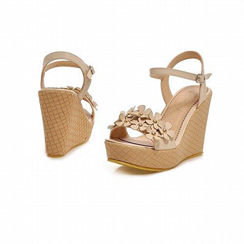Carolbar Womens Chic Sweet Buckle Applique Cute Fashion Summer Platform Wedges Sandals Beige K8poBLf