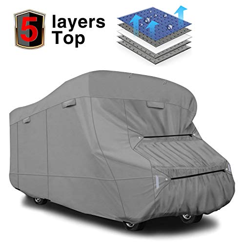 Class A Motorhomes - RVMasking Extra-Thick 5-ply Top Class C RV Cover, Fits 29'-32' RVs - Breathable Waterproof Ripstop Anti-UV Class C Cover with 10 PCS Windproof Buckles & Adhesive Repair Patch(25.4