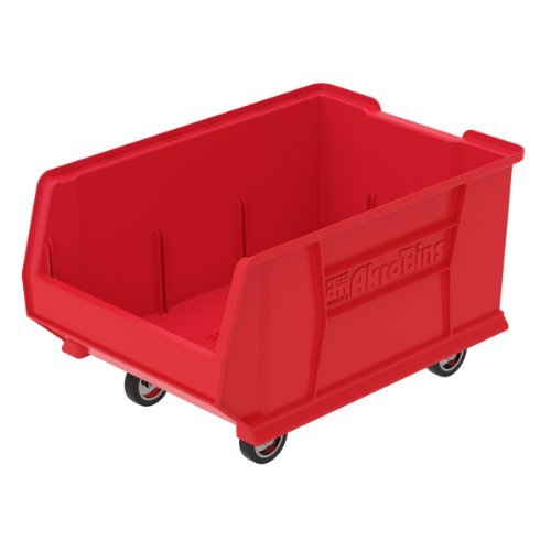 (Akro-Mils 30288 Mobile Super Size Plastic Stacking Storage Akro Bin, 24-Inch x 16-Inch x 11-Inch, Red by Akro-Mils)