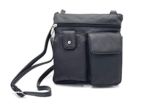 Goson Leather Crossbody Mini Purse Organizer Travel Bag - Hand Crafted Black Cowhide Leather Purse
