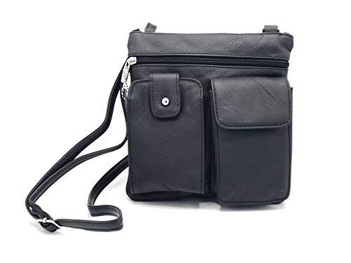 - Goson Leather Crossbody Mini Purse Organizer Travel Bag - Hand Crafted Black Cowhide Leather Purse