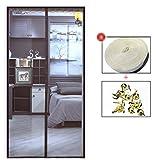 FOTEE Magnet Screen Door Curtain, Velcro Sliding Screen Door Durable Hands Free Pet and Kid Friendly,Coffee_34x80in/85x200CM