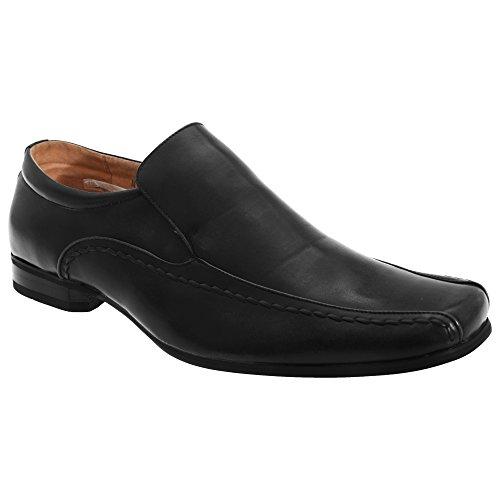 Goor Mens Cuir Slip-on Tramline Chaussures Mocassin Formel Noir