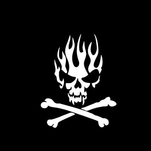 - Skull Flame and Cross-Bones Vinyl Decal Sticker | Cars Trucks Vans Walls Laptops Cups | White | 5.5 inches | KCD998