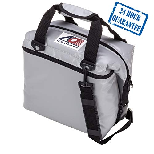 - AO Coolers Sportsman Vinyl Soft Cooler with High-Density Insulation, Silver, 24-Can