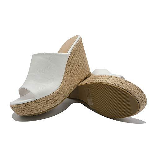 (ShoBeautiful Women's Espadrille Platform Wedge Heel Peep Toe PU Sandals Summer Fashion Slippers EM04 White 7.5)