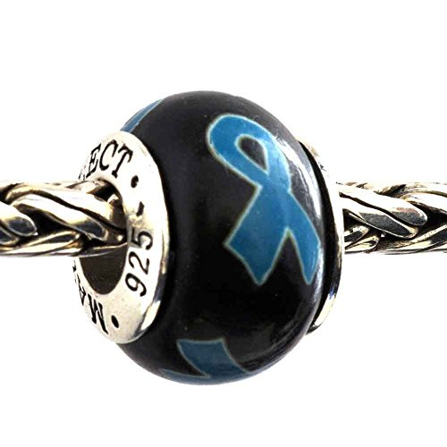 (Ovarian Cervical UterineTeal Blue Awareness Ribbon Bead Charm for Add-A-Bead Bracelets Clay & Sterling Silver by MAYselect)