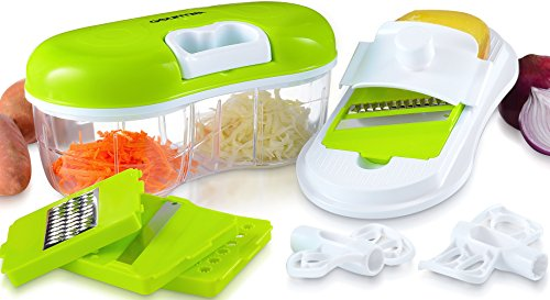 Gourmia GCH9290 Chopper & Grater Set All-in-One Pull String Food Processor & Mandoline Slicer With 2-Sided Container & Interchangeable Attachments, Durable BPA free food safe material (Grater Chopper compare prices)