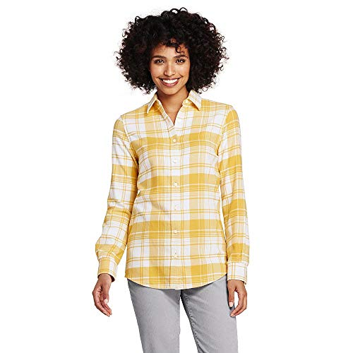Lands' End Women's Flannel Shirt, 12, Soft Mineral Yellow Plaid ()
