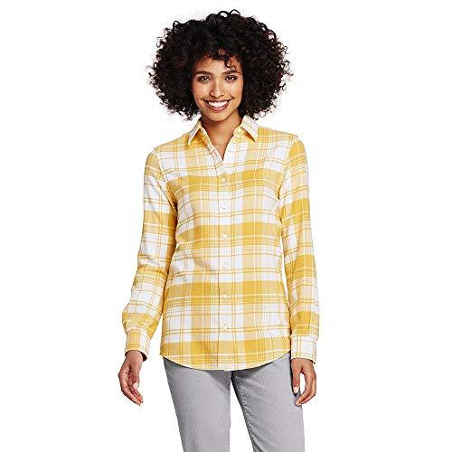 (Lands' End Women's Petite Flannel Shirt, 16, Soft Mineral Yellow Plaid)