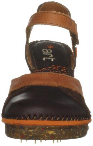 Art Amsterdam - Sandalias de tacón con correa en el tobillo para mujer Marrón (Braun/Multicolor Brown)