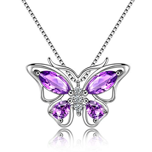 (Aurora Tears Butterfly Purple Necklaces Women 925 Sterling Silver Crystal Butterflies Pendant Girls Dating Jewelry Gift for Bride Wedding/Anniversary/Party DP0013P )