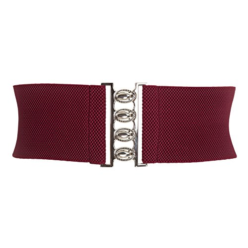 Belt Wine (Womens Casual Belts Elastic Waistband Wine Red L)